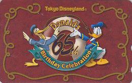 Télécarte NEUVE Japon DISNEY / 110-206552 - DISNEYLAND / 65th Birthday DONALD DUCK - Japan MINT Phonecard - Disney