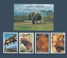 Saint Thomas SAO TOME AND PRINCIPE 1996 Yv.1264CQ/1264CT ** + Bloc 163AC ** Greenpeace Lion Tiger Iguane  Tigre Elephant - São Tomé Und Príncipe