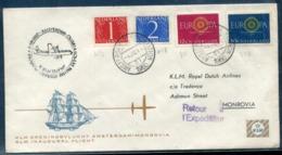 PAYS BAS - N° 457 & 458 + 726 & 727 / 1 Er. VOL AMSTERDAM - MONROVIA LE 5/11/1960 - TB - Marcofilia