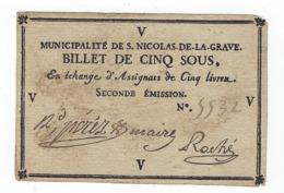Billet De Confiance De Cinq Sous  -  ST. NICOLAS DE LA GRAVE - Assignate