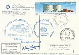 TAAF - Dumont D'Urville-T.Adélie: Carte Illustrée PE Victor Avec Timbre N°415 Station Concordia - 03/01/2006 - Franse Zuidelijke En Antarctische Gebieden (TAAF)