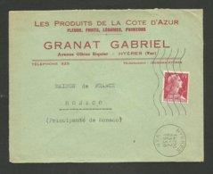 """VAR / Enveloppe Commerciale """" Fleurs - Fruits - Légumes G. GRANAT """" à HYERES / Muller 1956 - Marcophilie (Lettres)"""