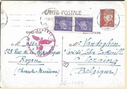 """509 (2x) Et 515 Sur Carte Postale Oblitérée à Royan Le 1-III-43 Vers Seraing  """"Oberkommando Der Wehrmacht"""" (Lot Nic 822) - 1941-42 Pétain"""