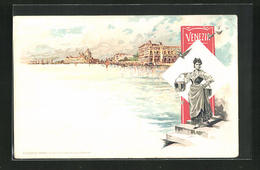 Lithographie Venezia, Blick Vom Wasser Auf Die Stadt - Venezia (Venice)