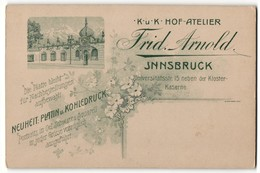 Fotografie Frid. Arnold, Innsbruck, Rücks. Ansicht Innsbruck, Atelier Universitätsstr. 15, Vorders. Portrait - Orte