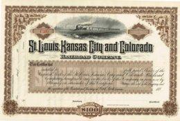 Titre Ancien - ST-Louis Kansas City And Colorado Railroad Company - Titre De 188...- Déco -Uncirculed - Chemin De Fer & Tramway