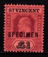 """S297.-. ST. VINCENT - 1904-1911- SC#: 89 - MNG - """"SPECIMEN"""" OVERPRINTED - SCV:US$ ???.00 ++ - St.Vincent (...-1979)"""
