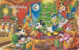 Télécarte Japon / 110-171208 - DISNEY STORE - NOEL 1995 - Donald Daisy Mickey Minnie CHRISTMAS Japan Phonecard - Disney