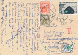 Carte En Provenance Des Pays Bas Pour Vichy Taxée Annulée Pour Réexpédition Evaux Les Bains Creuse 2 Types Timbres Taxes - Marcophilie (Lettres)