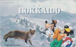 Télécarte Japon / 110-164239 - DISNEY  Série Voyage N° 2  - HOKKAIDO Mickey Chien Goofy Dog Renard Fox - Japan Phonecard - Disney