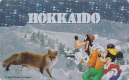 Télécarte NEUVE ARGENT Japon / 110-191423 - Série Voyage HOKKAIDO - Mickey Dog Fox - Japan MINT SILVER Phonecard - Disney