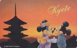 Télécarte NEUVE ARGENT Japon / 110-191428 - Série Voyage KYOTO - MICKEY MINNIE Sunset - Japan MINT SILVER Phonecard - Disney