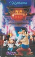 Télécarte Japon / 110-177902 - DISNEY  Série Voyage N° 8 - YOKOHAMA - MICKEY & GOOFY Chien Dog - Japan Phonecard - Disney
