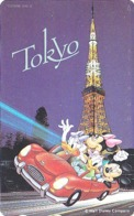 TC NEUVE ARGENT Japon / 110-191426 - DISNEY - Série Voyage TOKYO TOWER MICKEY MINNIE DONALD - Japan SILVER MINT PC - Disney