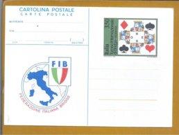 Bridge. Postal Stationery Of Bridge International Tournament, Rome. Playing Cards. Bridge International Federation. - Giochi