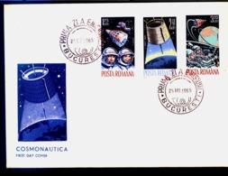 Espace Exploration Du Cosmos VOSHOD Astronauts, Satellites GEMINI, Early Bird   FDC  Roumanie / Romania 1965 - Europa