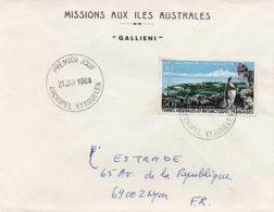 TAAF - PA14 Oblit 1e Jour 21/01/1968 Port-aux-Français Kerguelen Sur Enveloppe Gallieni - Luchtpost