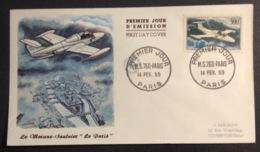 183- PA35 Morane Saulnier Le Paris 14/2/1959 FDC Premier Jour Poste Aérienne Lettre - FDC
