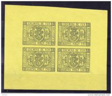 BELGIQUE COB TR 5 En Bloc De 4, Couleur Non Adoptée.  (5CT38A) - Proofs & Reprints