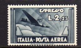 ITALIA REGNO ITALY KINGDOM 1933 POSTA AEREA ESPRESSO AEREO AIR MAIL SPECIAL DELIVERY LIRE 2,25 MNH BEN CENTRATO - Luchtpost