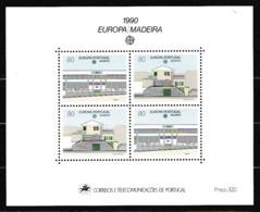 1990 Madeira Portogallo Portugal EUROPA CEPT EUROPE Foglietto Edifici Postali MNH** Souv. Sheet - 1990