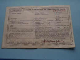 CERTIFICATE Of VESSEL ( Name MARIA Detail : Open/Wood/1916/Engine461286 Kermath/Collinsville ) > ( See Photo ) 1959 ! - Boats