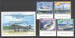 A874 1993 TOKELAU VANUATU TRANSPORTATION MILITARY SHIPS AVIATION THE NEW HEBRIDES II WAR WWII #330-3 1SET+1BL MNH - Vliegtuigen