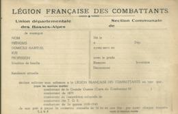 04 ALPES DE HAUTE PROVENCE BASSES ALPES DOCUMENT LEGION FRANCAISE DES COMBATTANTS MILITAIRE MILITARIA GUERRE - Dokumente