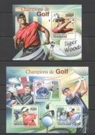 TG1028 2011 TOGO TOGOLAISE SPORT CHAMPIONS OF GOLF WOODS MCLLROY 1KB+1BL MNH - Golf