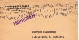 France. Flamme. Port Payé. Abonnez Vous Aux émissions De Timbres-Poste. 1951 Paris 82 - Oblitérations Mécaniques (flammes)