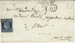 1851- Enveloppe Cursive 61/ Hénin Liétard  + N°4 Grille + Taxe 25 Dt + C Boite Rurale N I - Marcophilie (Lettres)