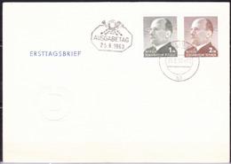 """DDR GDR RDA - Freimarken Walter Ulbricht (MiNr: 968/9) 1963 - Tagesstempel Berlin W 8  Zusatzstempel """"Ausgabetag"""" - [6] Democratic Republic"""