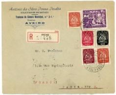 PORTUGAL ENV 1948 AVEIRO LETTRE RECOMMANDEE AVION => FRANCE - 1910-... République