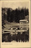 Cp Kanton Waadt, Au Lac Des Chavonnes, Ruderboot, Berghaus - VD Vaud
