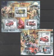 TG1065 2011 TOGO TOGOLAISE FIRE TRUCKS CAMIONS DE POMPIERS 1KB+1BL MNH - Vrachtwagens