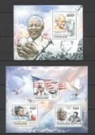 TG1072 2011 TOGO TOGOLAISE FAMOUS PEOPLE ARCHITECS OF NON VIOLENCE MANDELA GANDHI KB+BL MNH - Famous People