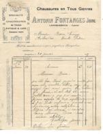 Facture 1925 / 15 LAROQUEBROU / A. FONTANGES / Chaussures Cousues Main - 1900 – 1949