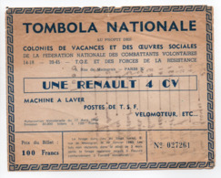 - BILLET DE LOTERIE - TOMBOLA NATIONALE 1960 - COLONIES DE VACANCES ET OEUVRES SOCIALES - RENAULT 4 CV - - Billets De Loterie