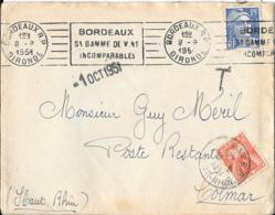 LETTRE DE BORDEAUX... TAXE POSTE RESTANTE1951..GRAND T.  POUR COLMAR...AVEC COURRIER.  BE . SCAN - 1921-1960: Periodo Moderno