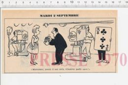 2 Scans Humour Ancien Tour Magie Jeu De Cartes Sorcière Métier Serveur Garçon Café Philtre Filtre Théière 198PF36 - Vieux Papiers