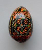 Wooden Egg Oeuf En Bois Folk Art Hand Painted Fait Main 1 - Uova