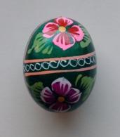 Wooden Egg Oeuf En Bois Folk Art Hand Painted Fait Main 2 - Eier