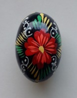 Wooden Egg Oeuf En Bois Folk Art Hand Painted Fait Main 3 - Eier