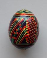 Wooden Egg Oeuf En Bois Folk Art Hand Painted Fait Main 4 - Eier