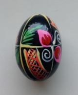 Wooden Egg Oeuf En Bois Folk Art Hand Painted Fait Main 5 - Eier