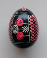 Wooden Egg Oeuf En Bois Folk Art Hand Painted Fait Main 6 - Uova