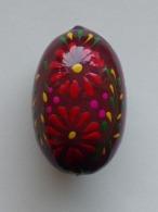 Wooden Egg Oeuf En Bois Folk Art Hand Painted Fait Main 7 - Uova