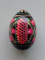 Wooden Egg Oeuf En Bois Folk Art Hand Painted Fait Main 8 - Eier
