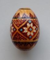 Wooden Egg Oeuf En Bois Folk Art Hand Painted Fait Main 11 - Uova