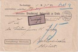 ALLEMAGNE 1895 LETTRE TAXEE EN CONTRE REMBOURSEMENT DE CRIVITZ - Deutschland
